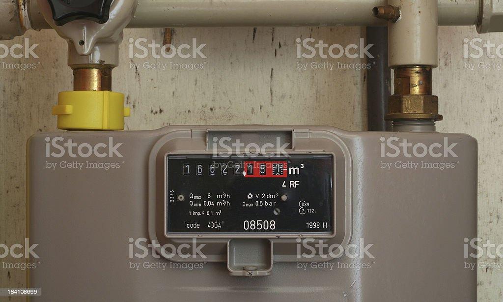Detail of a european gasmeter in meter cupboard royalty-free stock photo