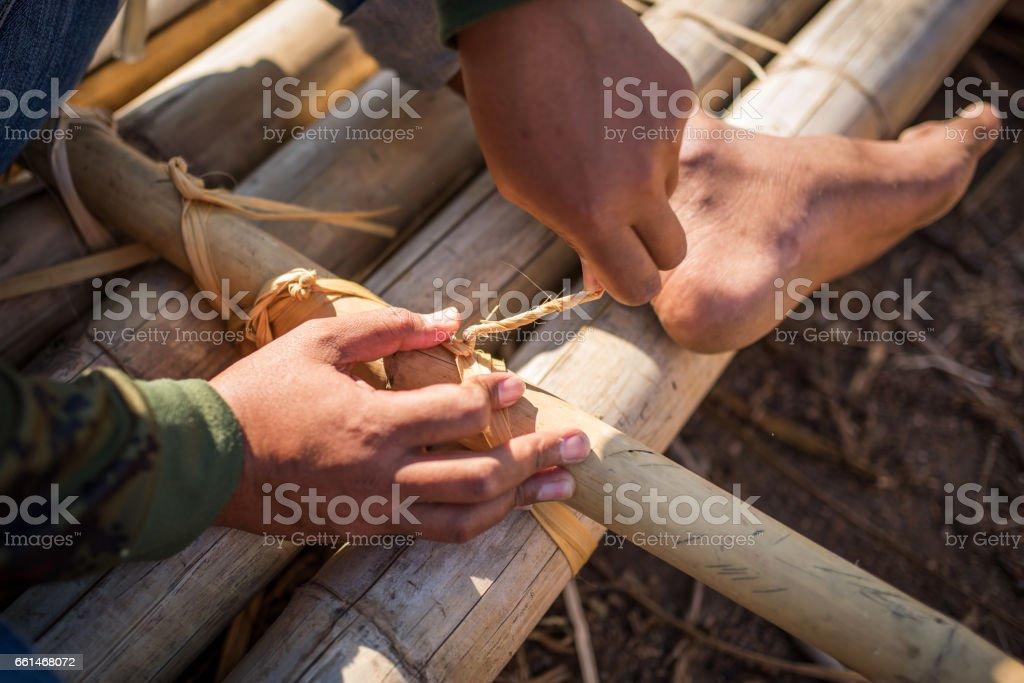 Detail of a float manufacture, Thailand stock photo