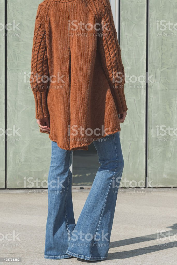 Detail of a girl posing in an urban context stock photo