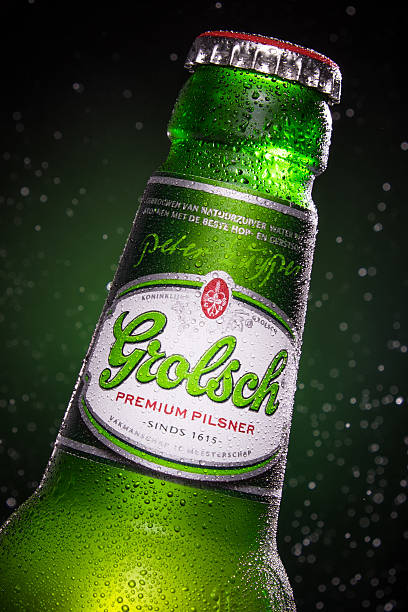 Detail of a Grolsch beer bottle stock photo