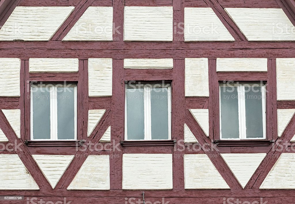 Detail of a half-timbered house in the franconian town Hersbruck stock photo