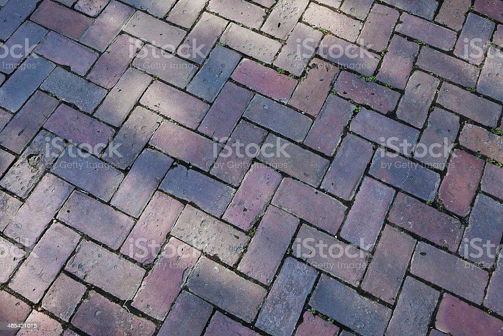 Detail of a Herringbone Brick Pattern Walkway stock photo