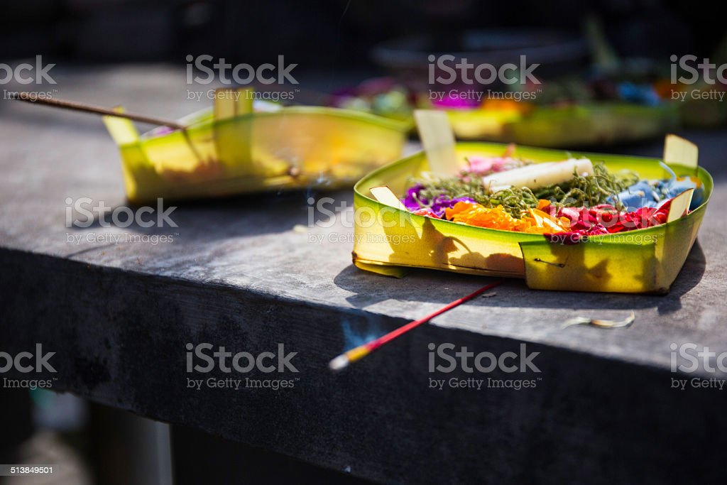 Detail of a Hindu votive offering stock photo
