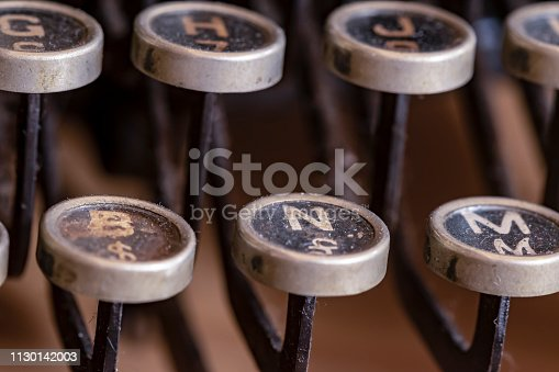istock Detail of a historic dusty portable typewriter made in Germany during the twenties of the 20th century. 1130142003