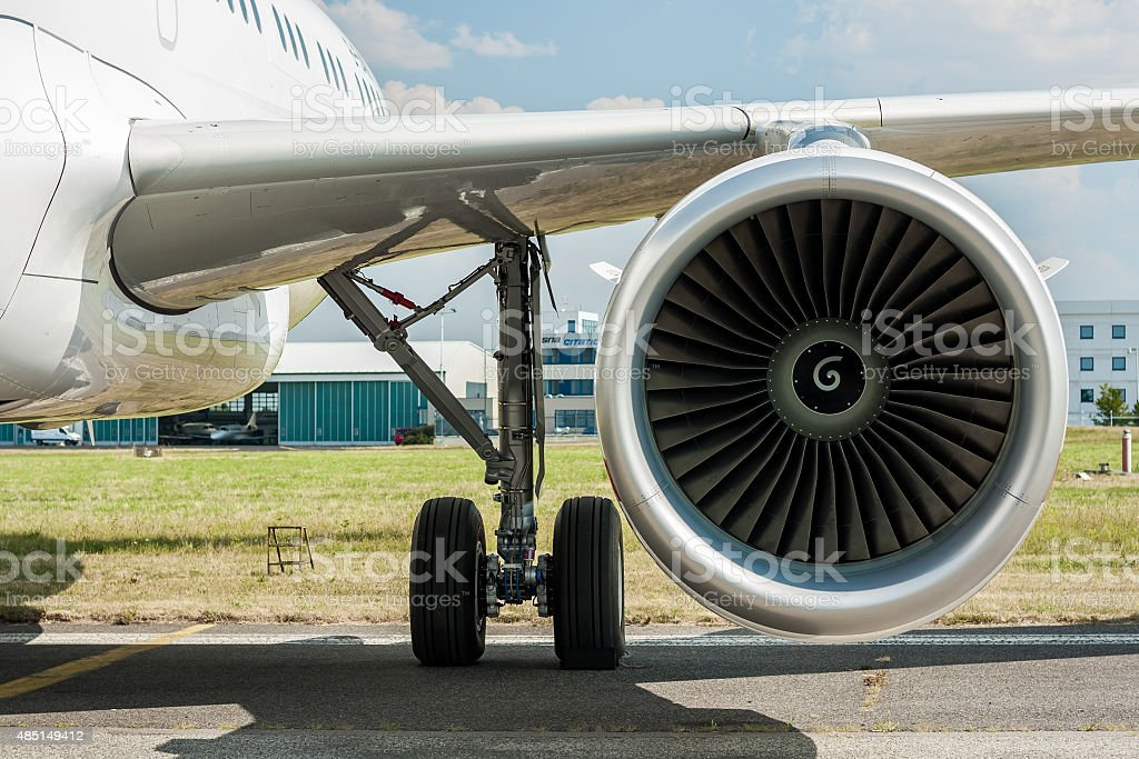 Detail Of A Jet Engine Turbine Airbus A320 Stock Photo - Download
