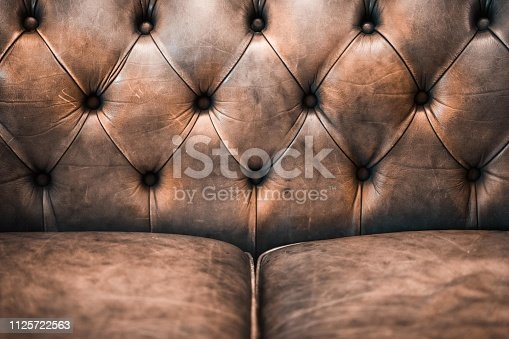 istock Detail of a luxurious brown leather sofa 1125722563