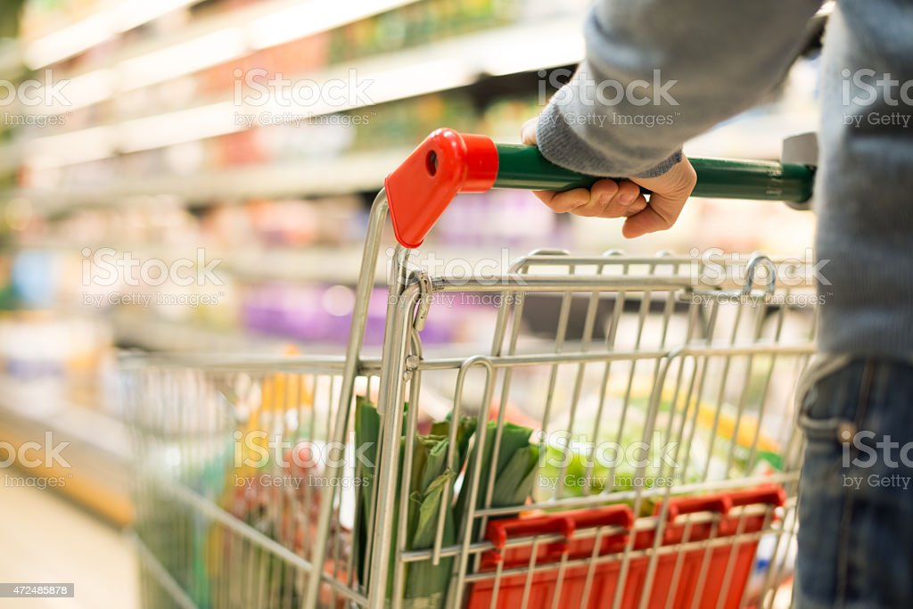 Detail of a man shopping in supermarket stock photo