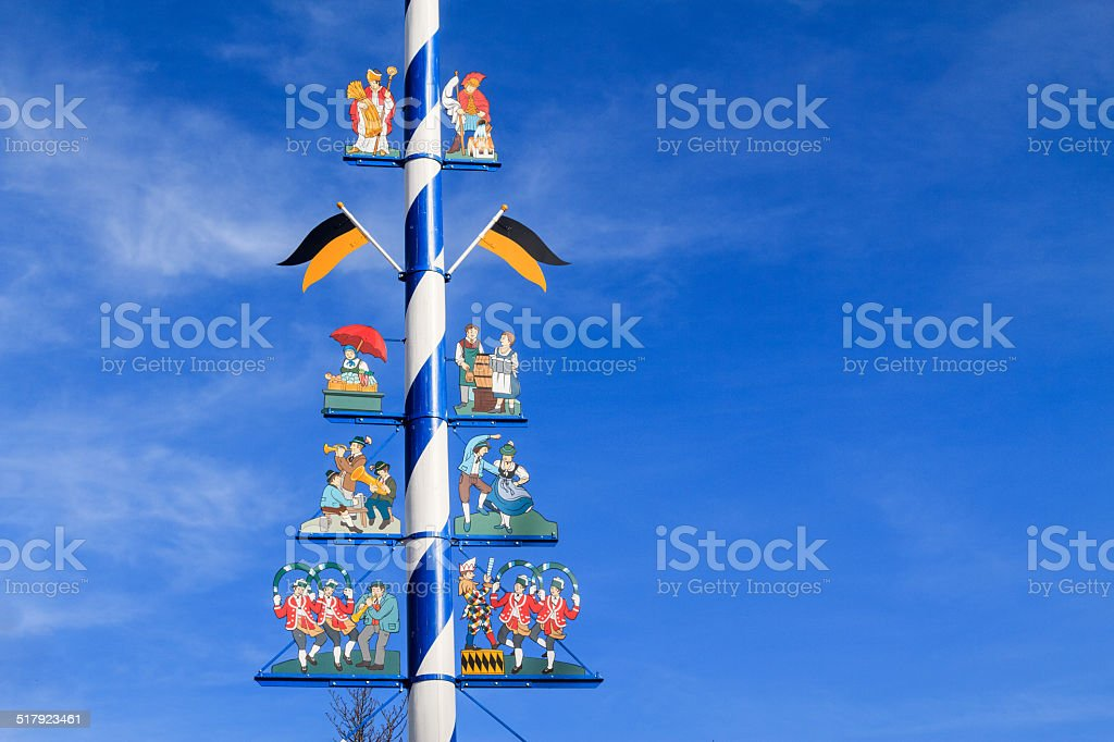 Detail of a Maypole in Munich stock photo