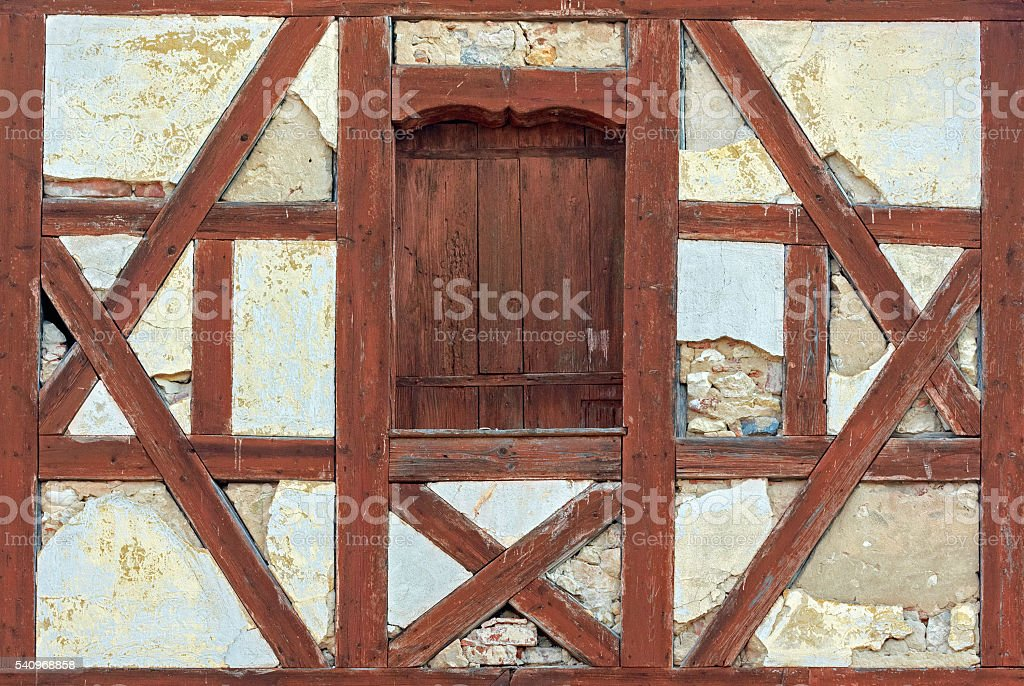 Detail of a medieval half-timbered house in Swabia, Bavaria stock photo