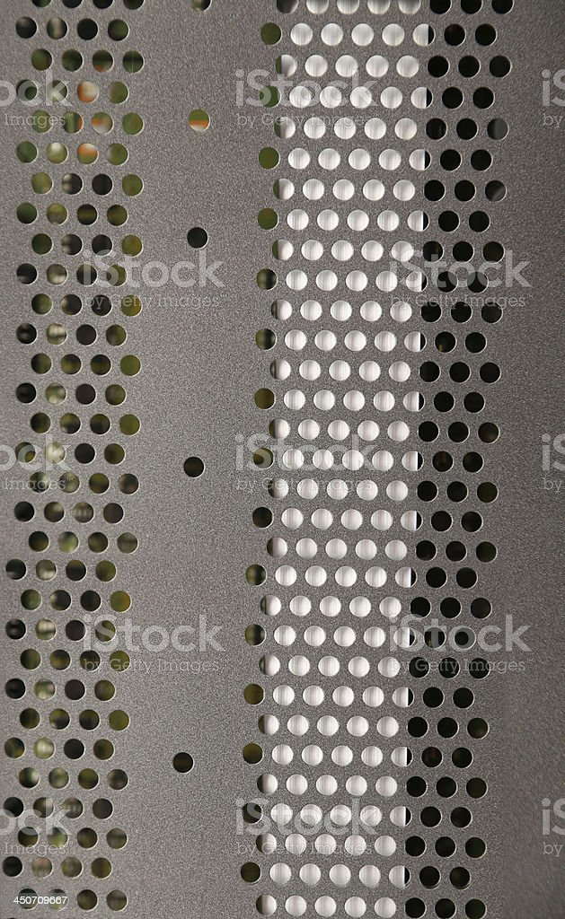 Detail of a metallic computer case. stock photo