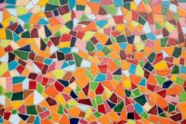 Detail of a multicolored glass mosaic stock photo