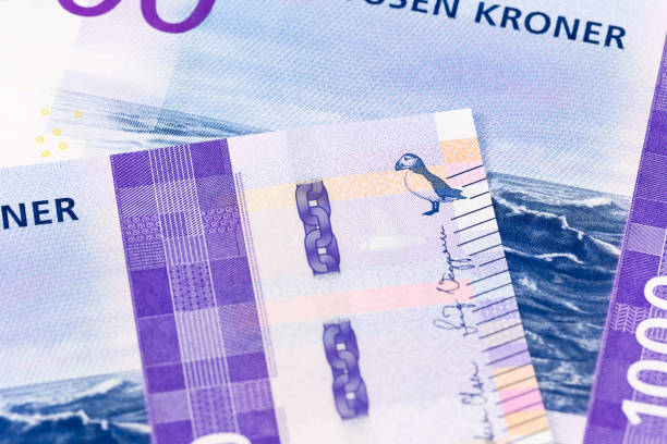 Detail einer neuen 1000 norwegischen Krone Banknote umgekehrt – Foto