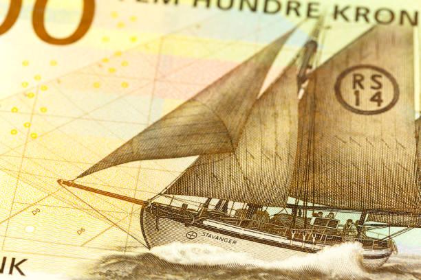 Detail einer neuen 500 norwegischen Krone Banknote – Foto
