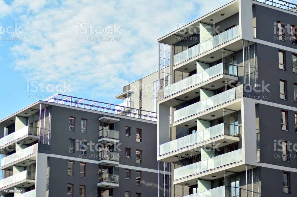 Detail Of A New Modern Apartment Building Stock Photo ...