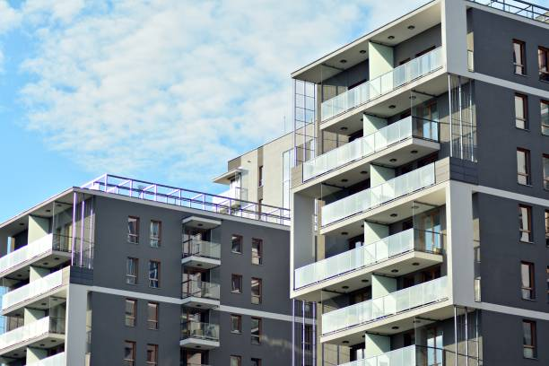 Detail of a new modern apartment building stock photo