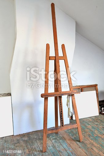 671393252 istock photo Detail of a Painter's easel in an artist's studio 1182210165