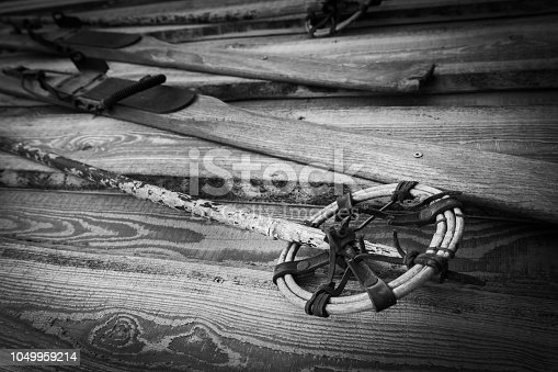 istock Detail of a pair of wooden skis 1049959214