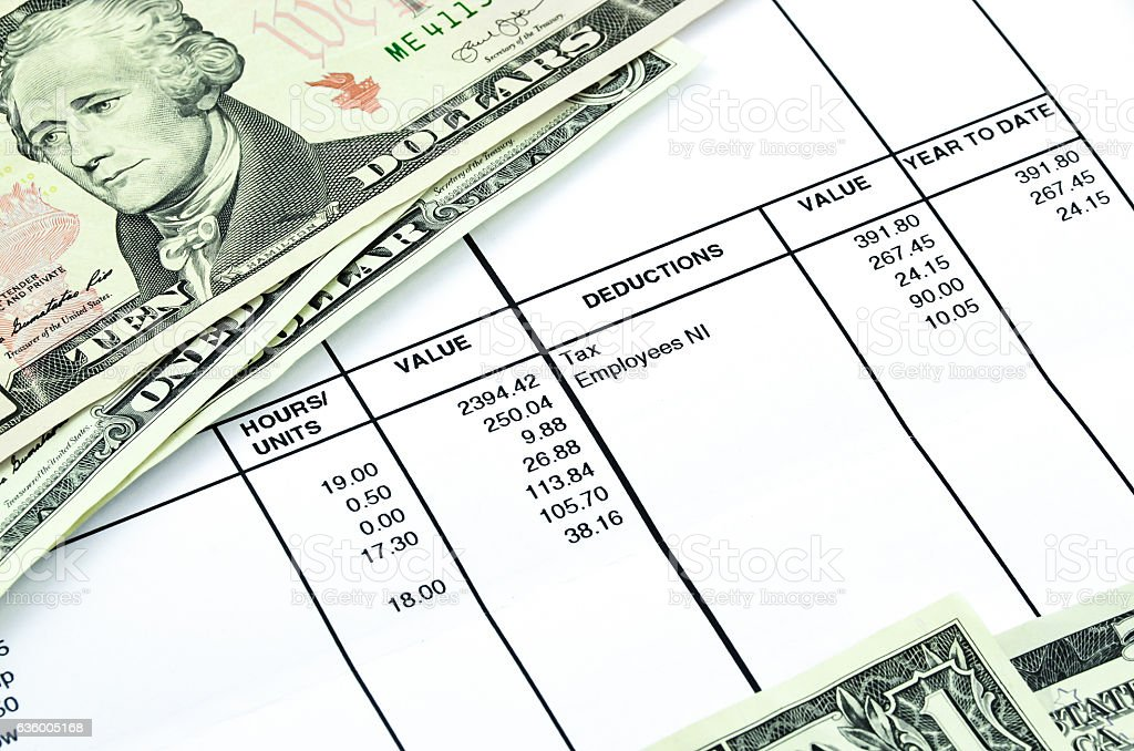Detail of a payslip stock photo