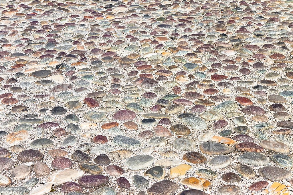 Detail of a pebble floor stock photo