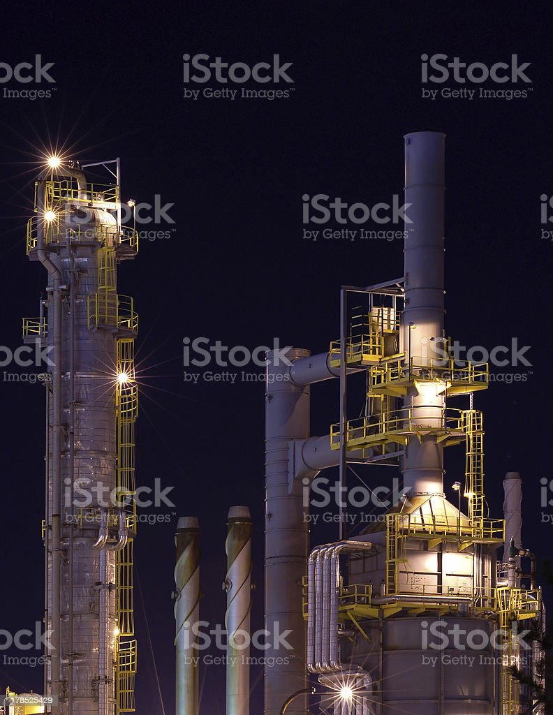 Detail of a refinery at night 5 royalty-free stock photo
