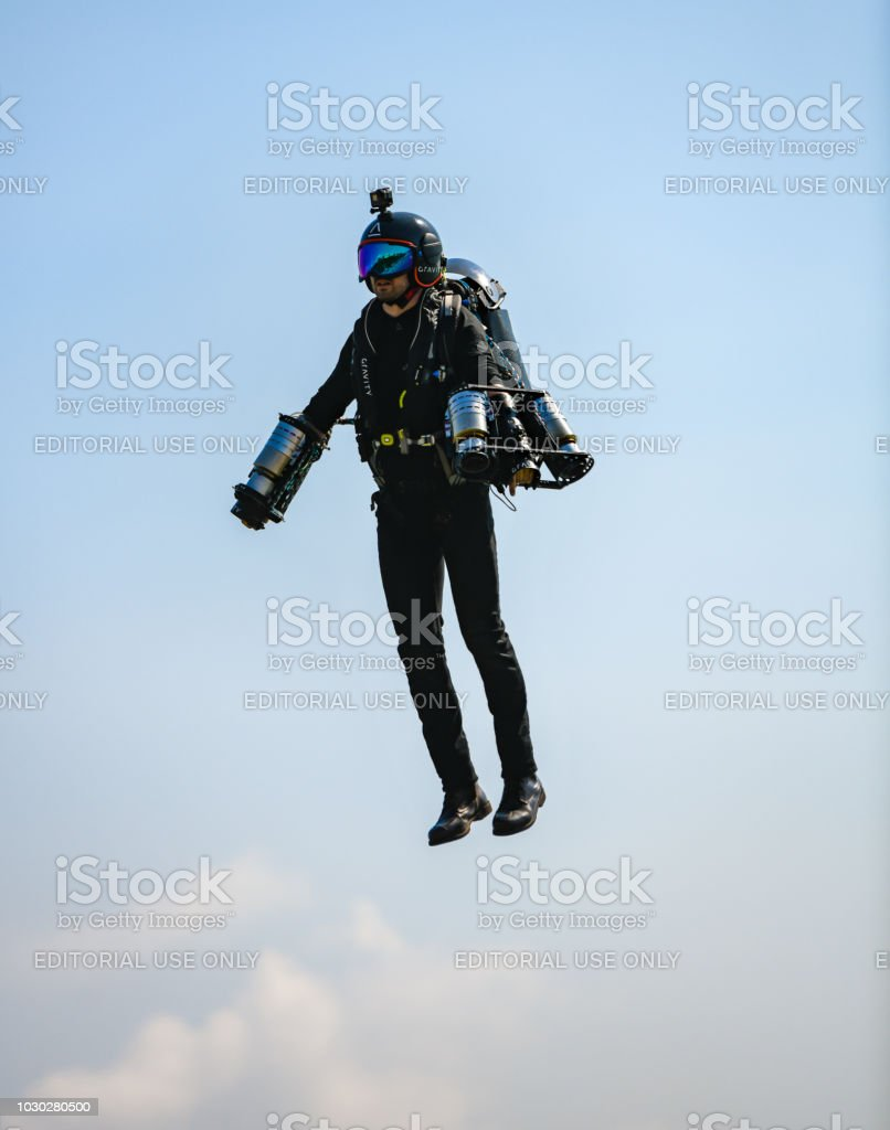 Detail of a single person flying Jet Suit stock photo