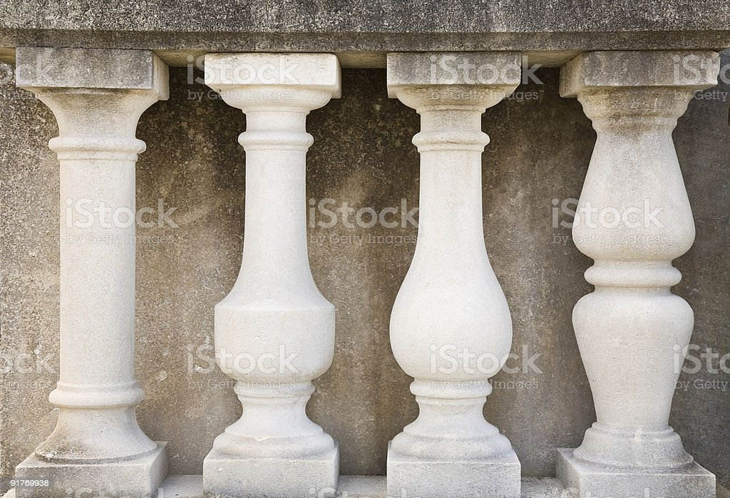 Detail of a stone balustrade stock photo