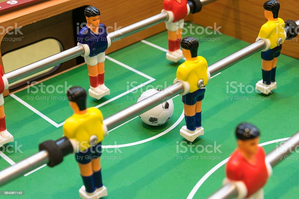 Detail of a table soccer game stock photo