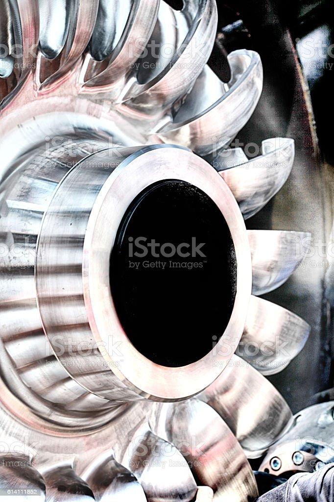 Detail of a turbine stock photo
