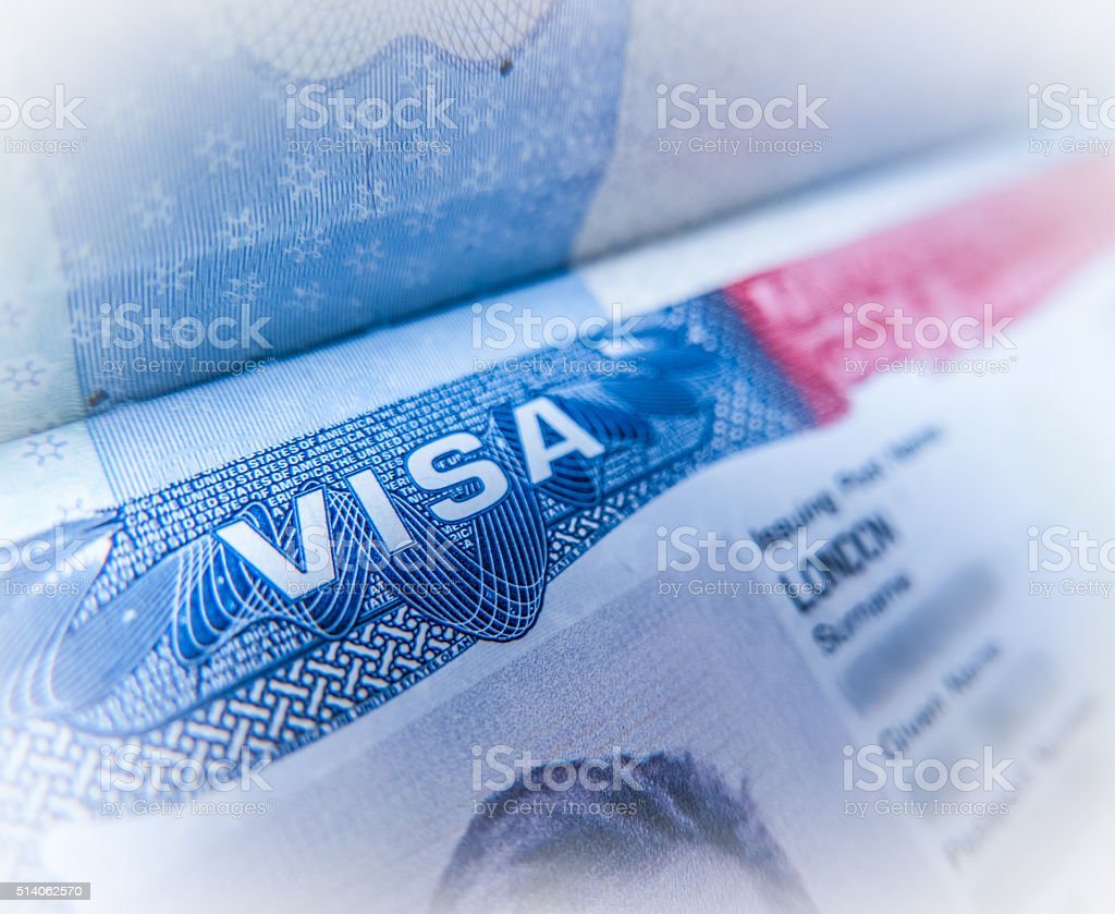 Detail Of A USA Visa stock photo