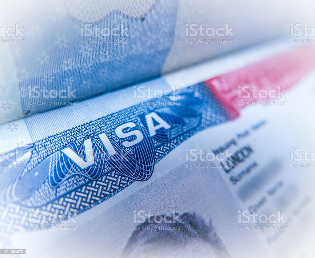 米国ビザの細部 ストックフォト