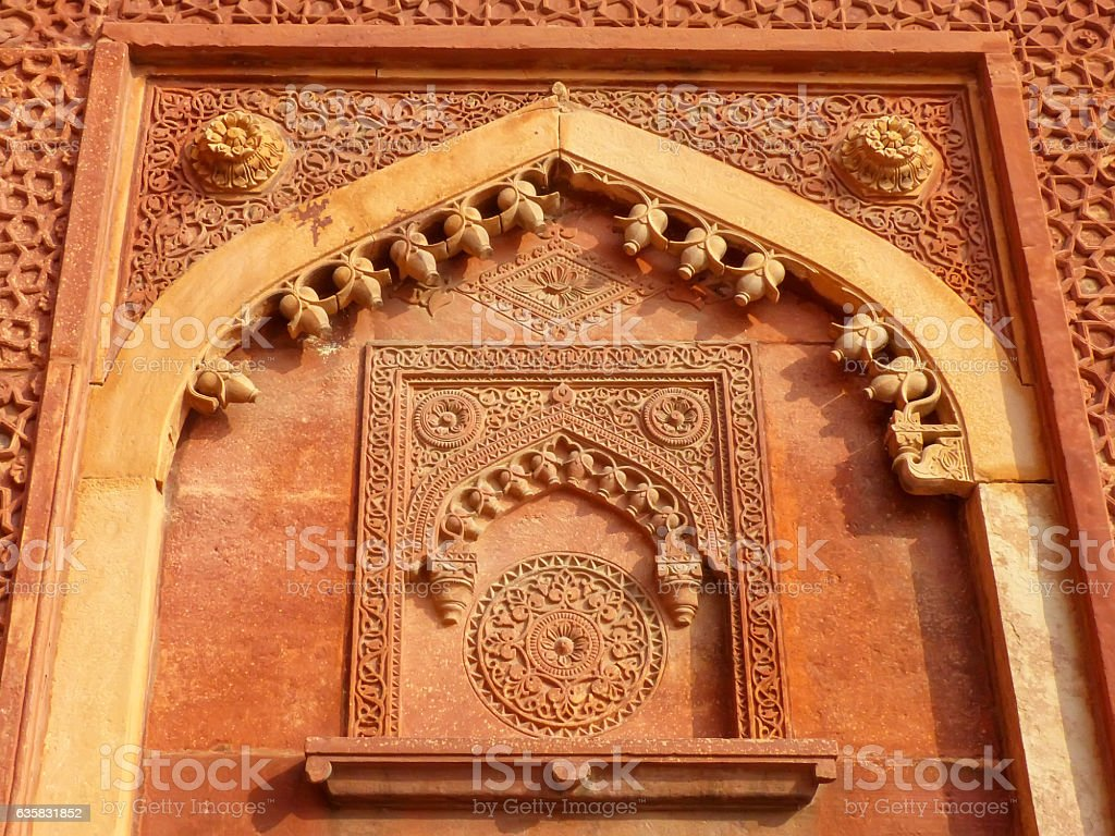 Detail of a wall in Jahangiri Mahal, Agra Fort stock photo