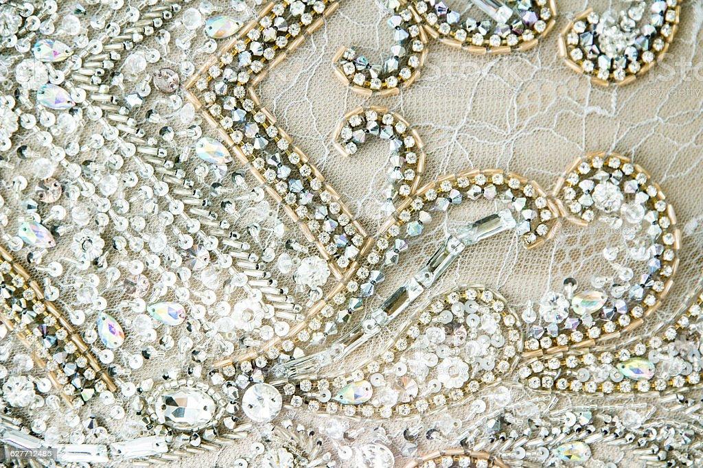 Detail of a Wedding Dress stock photo