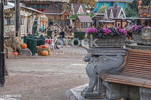 Copenhagen, Denmark, October 25, 2019: Tivoli Gardens opens every year for Halloween with friendly ghosts, spiders, scarecrows and over 20,000 pumpkins that provide the setting for Garden's atmospheric autumn season.