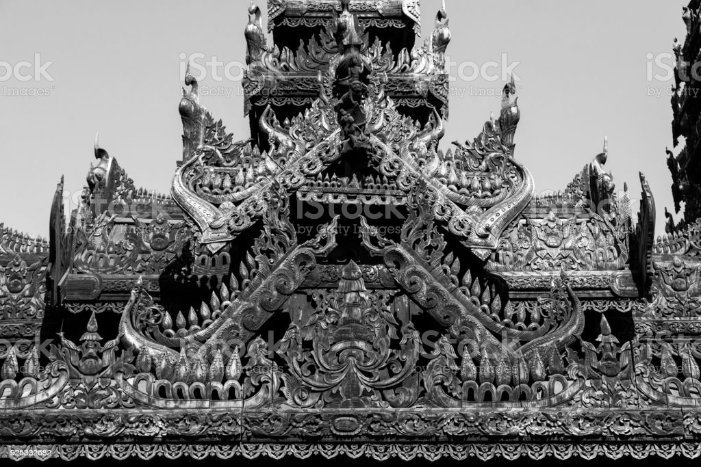 Detail of a wooden temple with beautiful carvings in Bagan, Myanmar stock photo