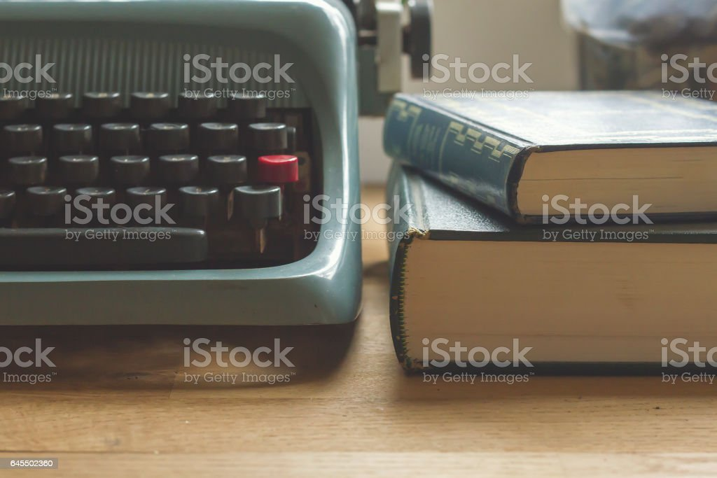 detail of a writer's desk stock photo