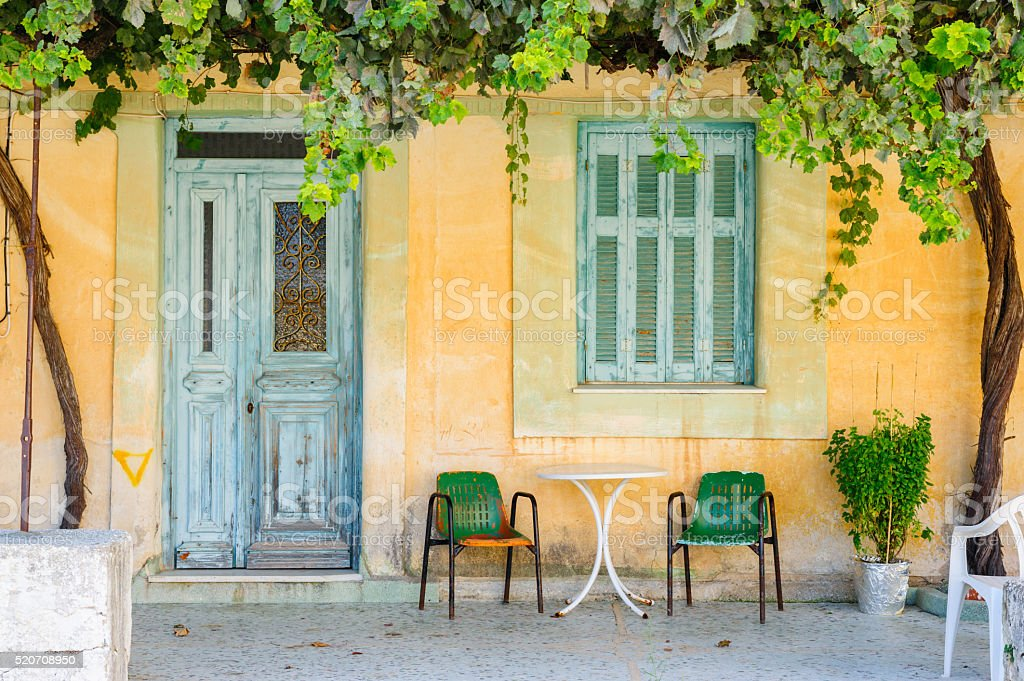 Detail of abandoned house on Kefalonia stock photo