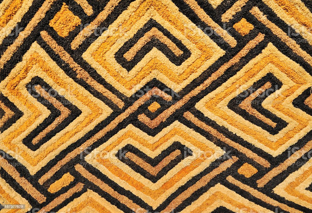 Detail of African Kasai velvet tapestry woven by Kuba tribe royalty-free stock photo