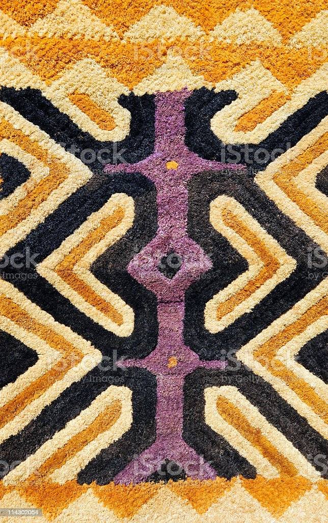 Detail of African traditional Kasai velvet woven by Kuba tribe stock photo