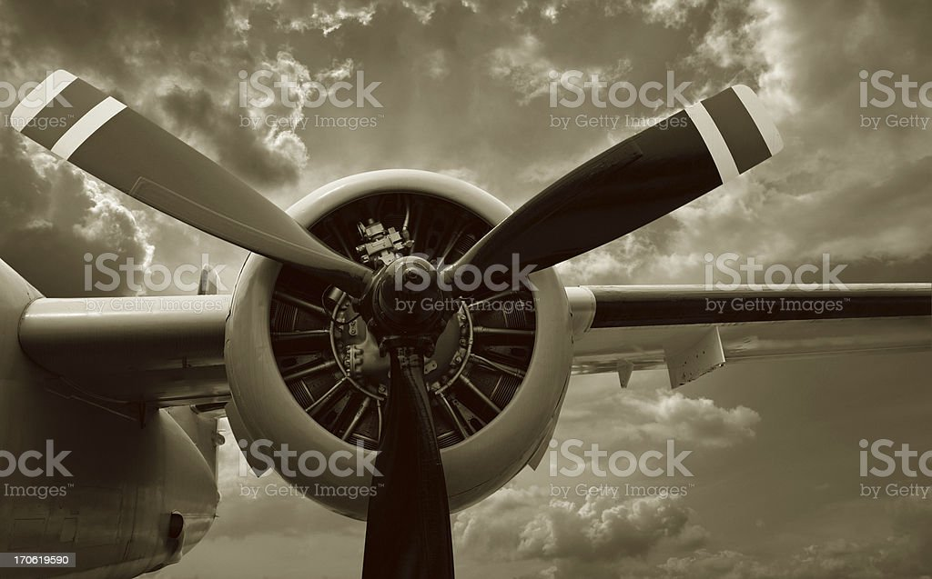 Detail of Airplane Engine and Propeller royalty-free stock photo