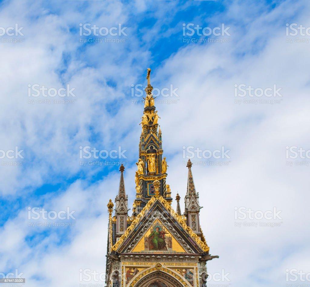 Detail of Albert Memorial in Kensington Gardens in London, United Kingdom stock photo