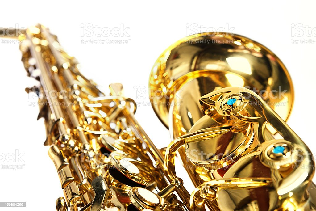 Detail of alto saxophone, isolated on white stock photo