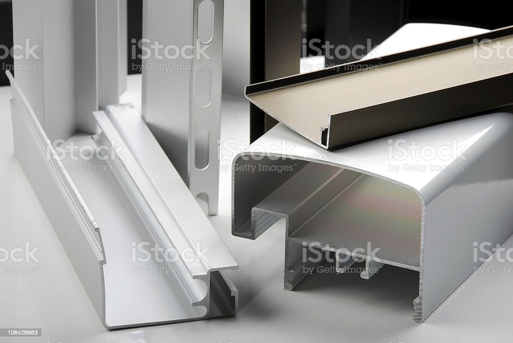 Detail of aluminium profiles stock photo