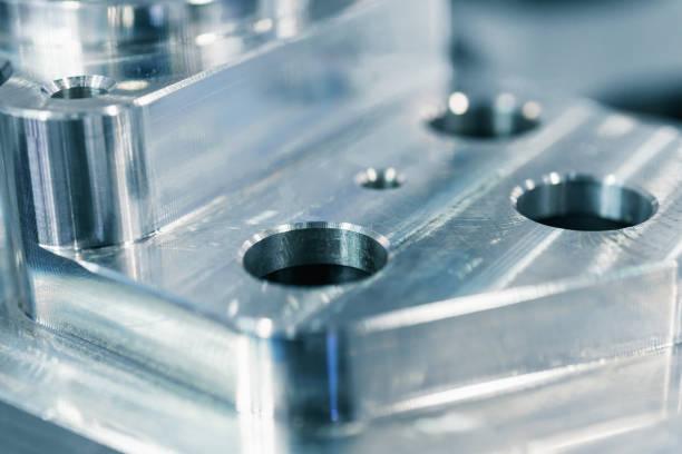 Detail von Aluminium bearbeitet Teile, glänzende Oberfläche. – Foto