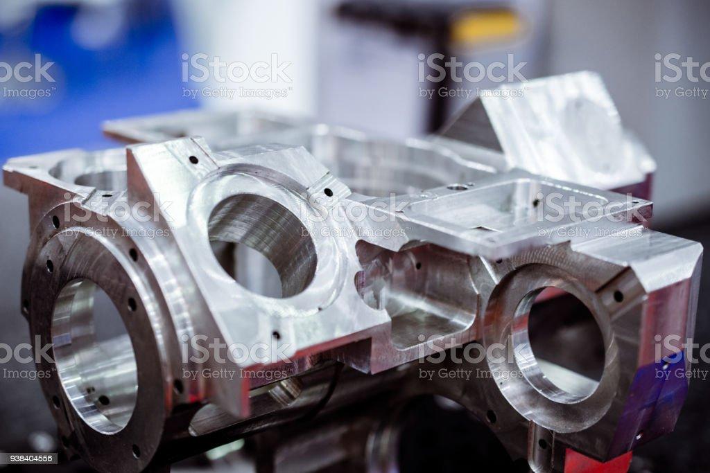 Detail of aluminum machined parts, shiny surface stock photo
