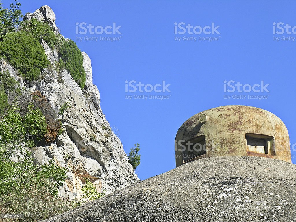 Detail of an ancient bunker in the Maginot Line stock photo