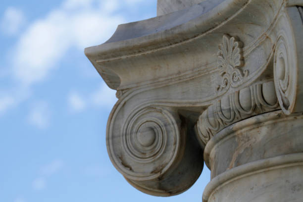 detail of an ancient Ionic column stock photo