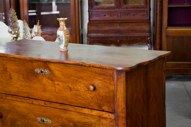 Detail of an ancient italian furniture just restored - Italian culture stock photo