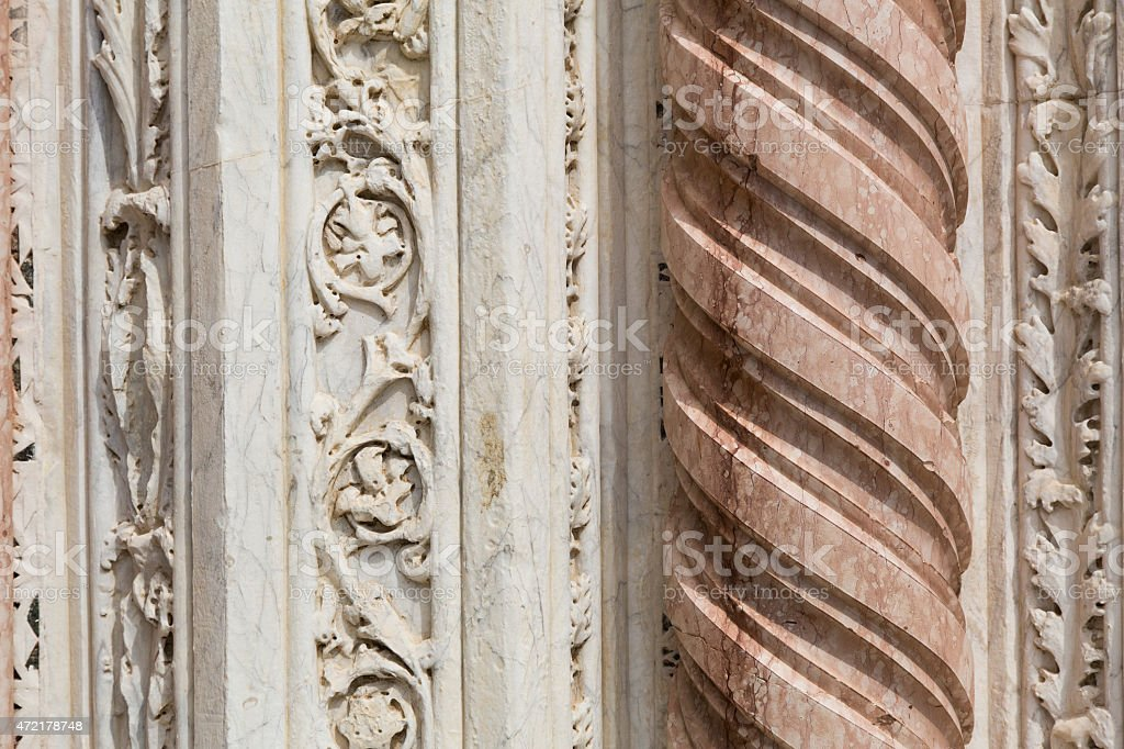 Detail of an ancient marble column stock photo