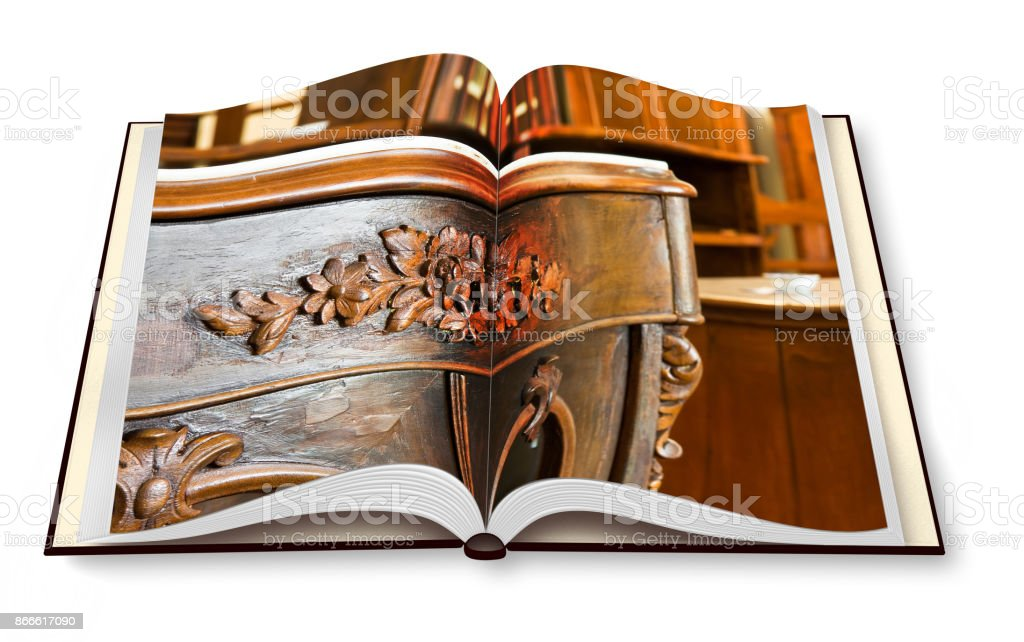 Detail of an antique italian furniture just restored - concept image on opened photobook - I'm the copyright owner of the images used in this 3D render. stock photo