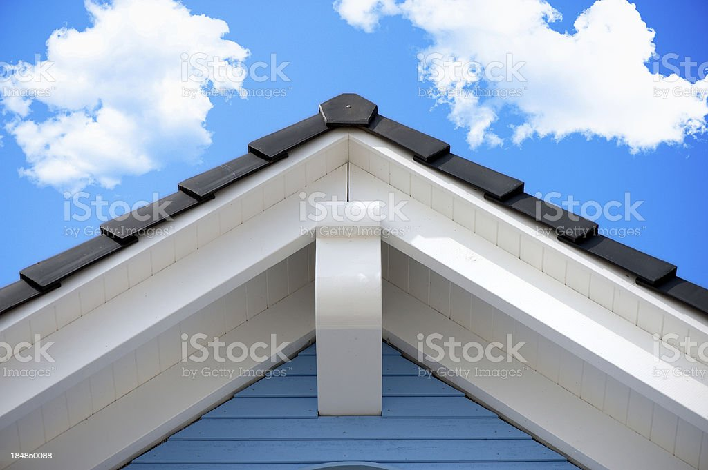 Detail of an house roof in the summer royalty-free stock photo